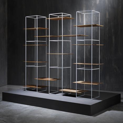 Ron Gilad designs shelves that seem<br /> to float in metal frames