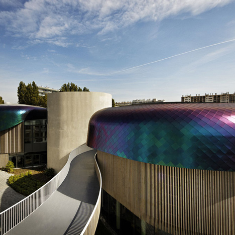 Office amenities building has dragon-like scales