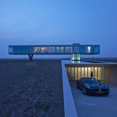 Ecological house with a glass box above the landscape architecture
