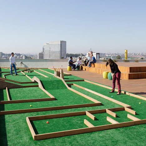 Walmart office in Brazil has a crazy golf course on the roof