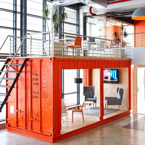 99c offices by Inhouse Brand Architects features a waiting room inside a shipping container