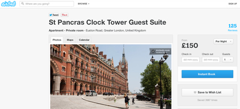 Airbnb clock tower rental page
