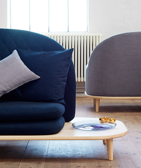 Base of Rise sofa by Note Design Studio extends to form a side table