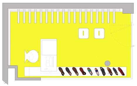 Shop floor plan of Bestias XX shop interior by Move Architects