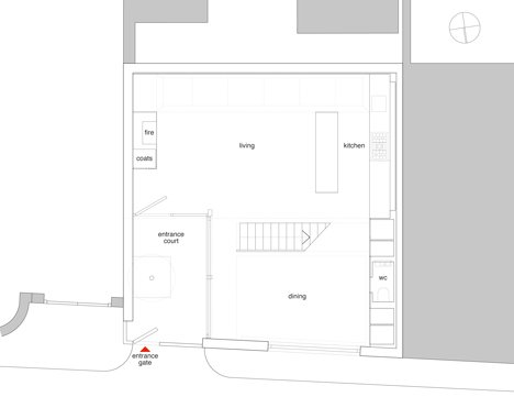 Ground floor plan of Blackbox mews house by Form_art Architects has brick walls that continue inside