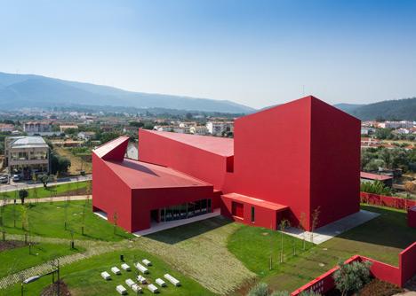 Casa das Artes bright red cultural centre by Future Architecture Thinking
