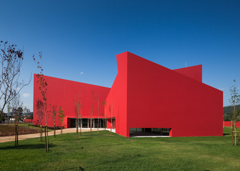 Casa das Artes bright red cultural centre by Future Architecture Thinking
