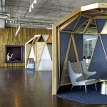 Cisco offices by Studio O+A feature wooden meeting pavilions