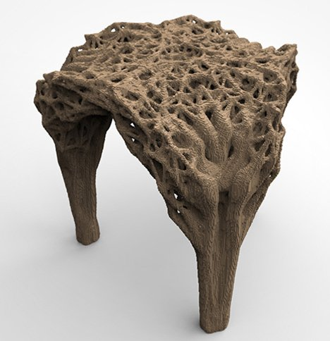 Daniel Widrig uses DIY 3D printing process to produce pixellated stool