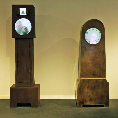 Grandfather and Grandmother Clocks by Maarten Baas, presented by Carpenters Workshop Gallery at Design Miami 2013