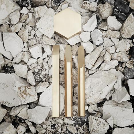 Disquiet Luxurians brass tools for mining feldspar by Emilie F Grenier