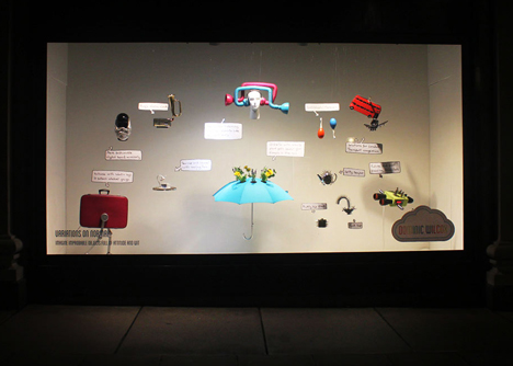 Dominic Wilcox's Variations on Normal products displayed in Selfridges' window