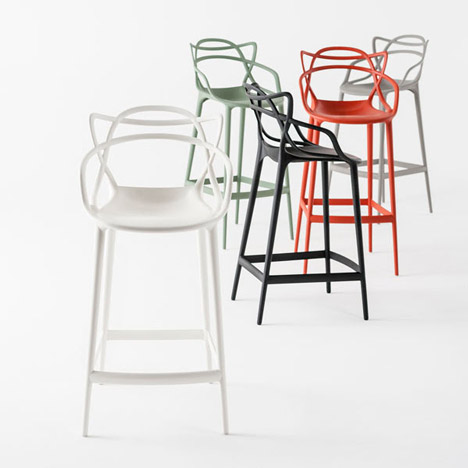 Famous modernist chair shapes merged into a bar stool by Eugeni Quitllet