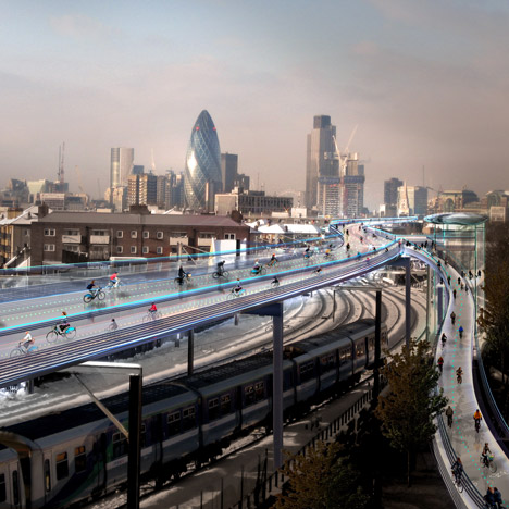 "Foster promotes Skycycle ""cycling utopia"" above London's railways"