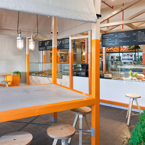 Foxes Den cafe by Hecker Guthrie references a chicken coop