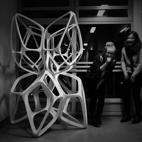 Fragile Beasts sculpture made from paper by Lodz University of Technology students