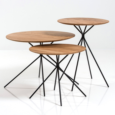 Debut collection by Herman Cph includes<br /> oak tables with spindly steel legs