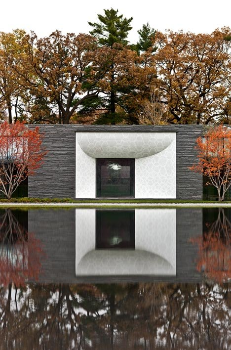 Garden Mausoleum by HGA features rough granite, white marble and gleaming onyx