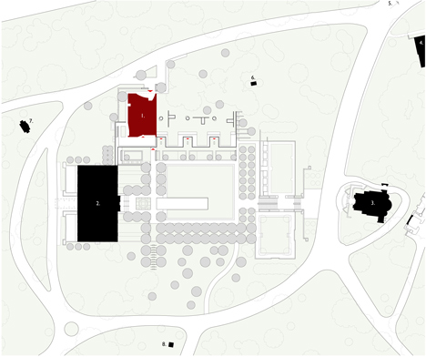 Site plan of Garden Mausoleum by HGA features rough granite, white marble and gleaming onyx