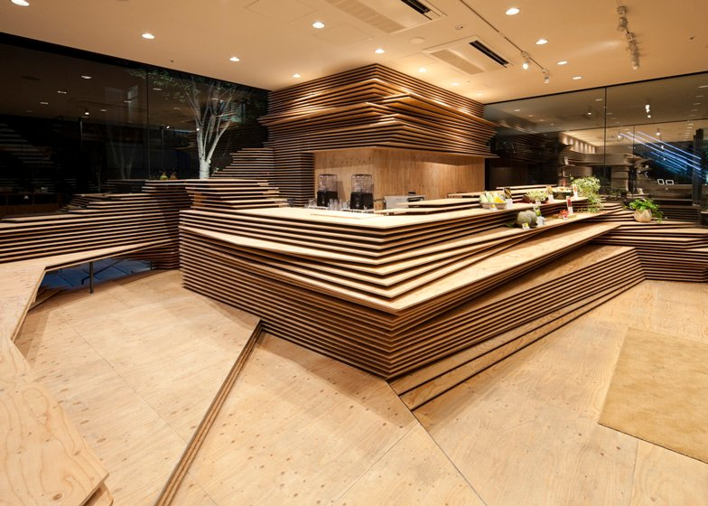 Kengo Kuma stacks wooden layers inside a cafe and office in Osaka - harry - 哈梨见竹视雾所