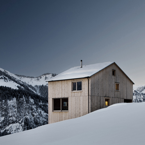 Bernardo Bader's Haus Fontanella is<br /> a chalet built from pine and spruce