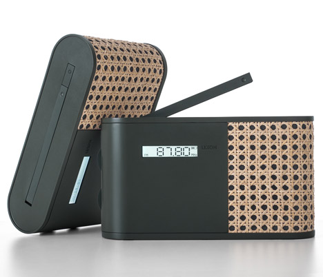 Hybrid radio wrapped in woven rattan by Mathieu Lehanneur for Lexon
