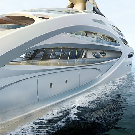 Zaha Hadid's Jazz superyacht for German shipbuilders Blohm+Voss
