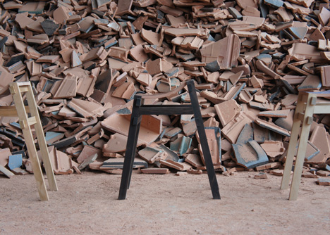 Furniture made from waste tiles by Tsuyoshi Hayashi