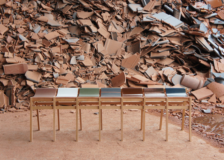 Furniture made from waste tiles by Tsuyoshi Hayashi