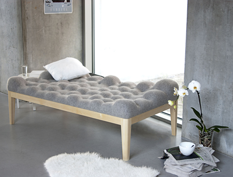Stunning Kulle lumpy day bed with boiled wool bobbles by Stefanie Schissler