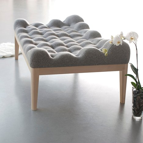 Kulle day bed by Stefanie Schissler features a bobbly surface