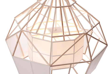 Lamp made from model glider materials by Studio Daniel for Odesi