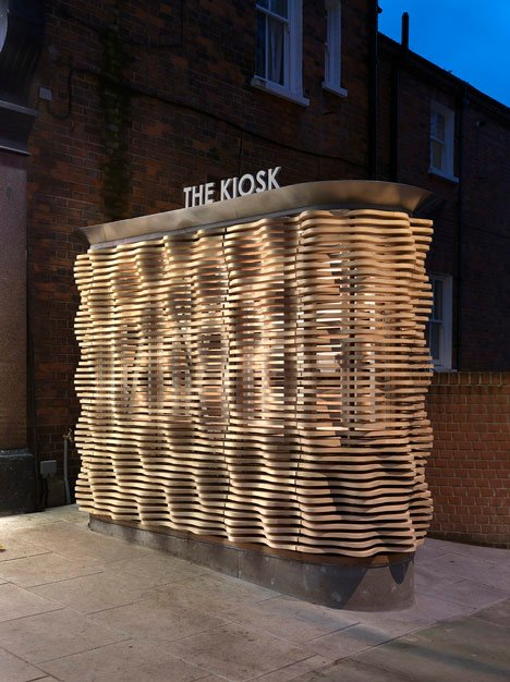 London flower kiosk with a wavy timber exterior by Buchanan Partnership