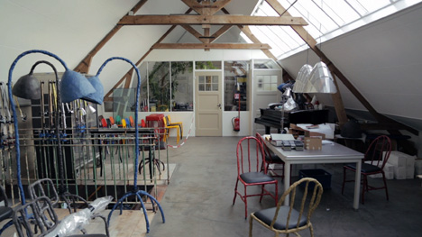 Maarten Baas' studio on a former farm
