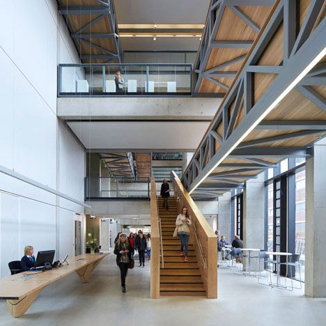 Wonderful Art School Extension With Wooden Stairs And Bridges By Feilden Clegg  Bradley Studios