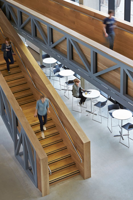 Manchester Metropolitan University art school extension with wooden stairs and bridges by Feilden Clegg Bradley Studios