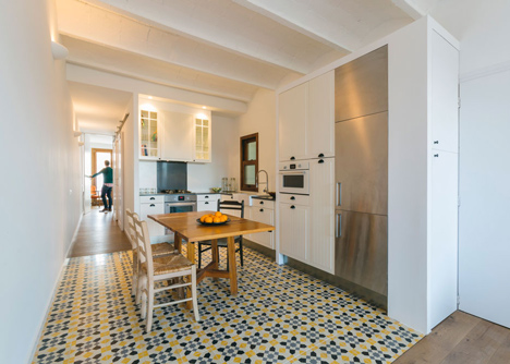 Barcelona Apartment Renovation By Nook With Tiles And Window Seat - 1960s floor tiles