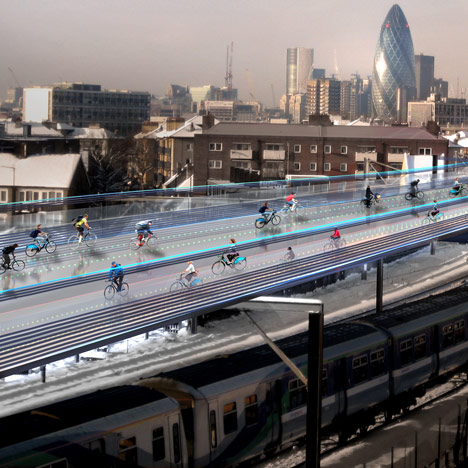 Norman Foster cycling utopia above London railways