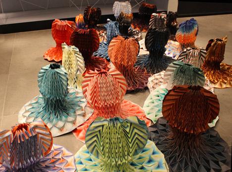 Origami dresses by Jule Waibel installed at Bershka stores in 25 cities