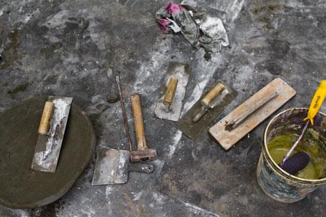 Stonecutters from a granite quarry in Tamil Nadu