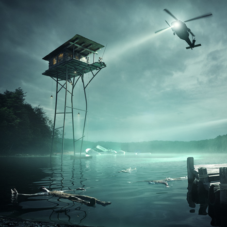 Olson Kundig and Jack Daws imagine a house on stilts above a polluted lake
