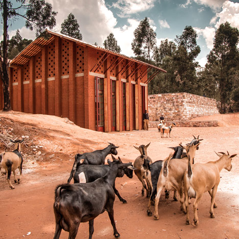 African children's library with rammed earth walls by BC Architects