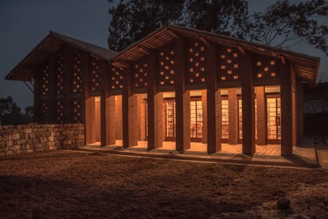 Children's library in Africa with rammed earth walls by BC Architects