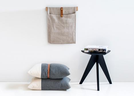 Wall pocket and cushions by Herman Cph