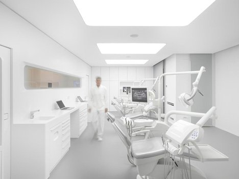 White Space orthodontic clinic with Corian walls by Bureauhub