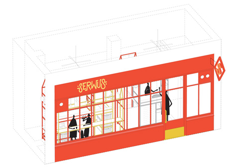 Zapiekanka restaurant in Warsaw modelled on a market booth by MFRMGR