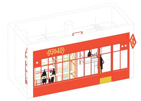Zapiekanka restaurant in Warsaw modelled on a market booth by MFRMGR
