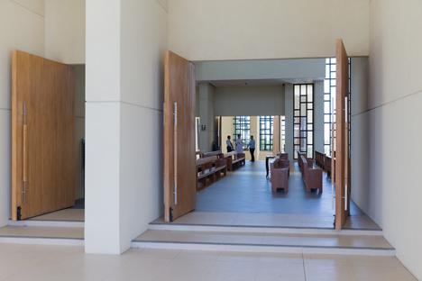 CAZA's 100 Walls Church is surrounded by staggered walls and partitions