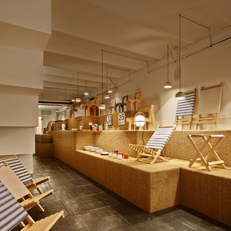 AOO shop in Barcelona by Arquitectura-G has a stepped sisal display platform
