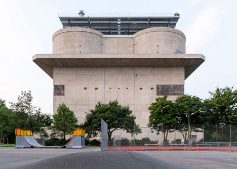 Abandoned concrete bunker converted into a green power plant